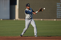 Columbia Fireflies second baseman Herard Gonzalez (1) makes a throw to first base against the Kannapolis Cannon Ballers at Atrium Health Ballpark on May 21, 2021 in Kannapolis, North Carolina. (Brian Westerholt/Four Seam Images)