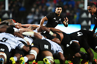 17th July 2021; Hamilton, New Zealand;  Richie Mo'unga of New Zealand makes a break for an outlet from the scrum. All Blacks versus Fiji, Steinlager Series, international rugby union test match. FMG Stadium Waikato, Hamilton, New Zealand.