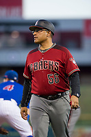 AZL Diamondbacks coach Micah Franklin (56) during the game against the AZL Cubs on August 11, 2017 at Sloan Park in Mesa, Arizona. AZL Cubs defeated the AZL Diamondbacks 7-3. (Zachary Lucy/Four Seam Images)