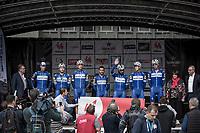 Team Quick Step Floors at the pre race team presentation. <br /> <br /> <br /> 78th Euro Metropole Tour 2018<br /> La Louvière – Tournai (BEL): 206km