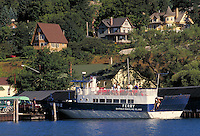 Passenger and vehicle ferry service to Madeline Island, largest of Lake Superior's 22 Apostle Islands. The only one of the islands with residential and commercial development and not part of the Apostle Islands National Lakeshore. Bayfield Wisconsin USA L