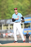 Hickory Crawdads starting pitcher Hans Crouse (10) prepares to throw to a batter during a game with the Asheville Tourists at L.P. Frans Stadium on May 8, 2019 in Hickory, North Carolina.The Tourists defeated the Crawdads 7-6. (Tracy Proffitt/Four Seam Images)