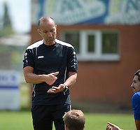 20150627 - Lauwe , BELGIUM : Kortrijk's physical coach Eddy Dehaeseleer pictured during a friendly match between Belgian first division team KV Kortrijk and Belgian third division soccer team FC Izegem , during the preparations for the 2015-2016 season, Saturday 27th June 2015 in Lauwe. PHOTO DAVID CATRY