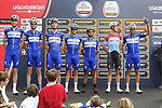 Quick-Step Floors team at sign on before the start of the 99th edition of Milan-Turin 2018, running 200km from Magenta Milan to Superga Basilica Turin, Italy. 10th October 2018.<br /> Picture: Eoin Clarke | Cyclefile<br /> <br /> <br /> All photos usage must carry mandatory copyright credit (© Cyclefile | Eoin Clarke)