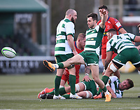 20th February 2021; Trailfinders Sports Club, London, England; Trailfinders Challenge Cup Rugby, Ealing Trailfinders versus Doncaster Knights; Craig Hampson of Ealing Trailfinders kicks the ball out to finish the first half