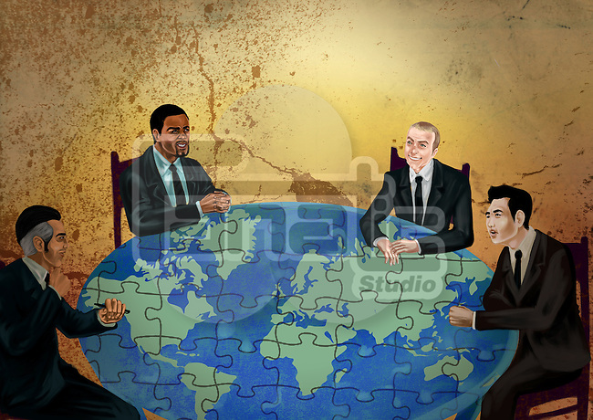 Businessmen discussing on global business