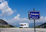Switzerland, Canton Valais, Camper and bycicles at Furka Pass Road - border between cantones Valais and Uri