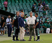 28th August 2021; Benito Villamarín Stadium, Seville, Spain, Spanish La Liga Football, Real Betis versus Real Madrid; Real Betis manager Manuel Pellegrini chats with his assistants before the game