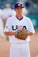 Sean Brady #9 of the USA 18u National Team prior to the game against the USA Baseball Collegiate National Team at the USA Baseball National Training Center on July 2, 2011 in Cary, North Carolina.  The College National Team defeated the 18u team 8-1.  Brian Westerholt / Four Seam Images