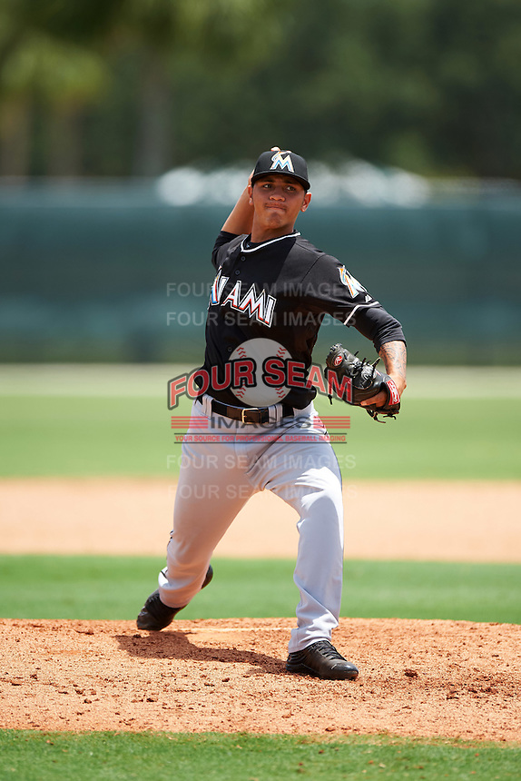 GCL Marlins relief pitcher Geral Silva (20) during the second game of a doubleheader against the GCL Cardinals on August 13, 2016 at Roger Dean Complex in Jupiter, Florida.  GCL Cardinals defeated GCL Marlins 2-0.  (Mike Janes/Four Seam Images)