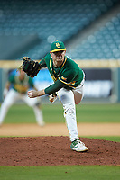 Baylor Bears relief pitcher Ryan Leckich (10) follows through on his delivery against the LSU Tigers in game five of the 2020 Shriners Hospitals for Children College Classic at Minute Maid Park on February 28, 2020 in Houston, Texas. The Bears defeated the Tigers 6-4. (Brian Westerholt/Four Seam Images)