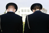 The Blue Eagles Honor Guard bow their heads during a Memorial service held for her husband Coach Bennie Eden at the Point Loma High School Football stadium that was recently renamed in his honor, Saturday February 23 2008.