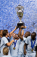 Paulo Nagamura, Julio Cesar, Sporting Kansas City, Lamar Hunt US Open Cup Trophy. Sporting Kansas City won the Lamar Hunt U.S. Open Cup on penalty kicks after tying the Seattle Sounders in overtime at Livestrong Sporting Park in Kansas City, Kansas.