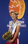 Kirby Coté de Winnipeg la première médaillée canadienne aux jeux paralympiques d'Athènes (médaille d'or en natation. (Jean-Baptiste Benavent 19 septembre).