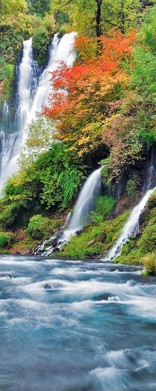 Burney Falls with fall color. McArthur-Burney Falls Memorial State Park. California