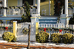 Cape May porch with Christmas decorations.