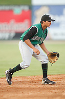 Shortstop Ydwin Villegas #28 of the Augusta GreenJackets on defense against the Kannapolis Intimidators at Fieldcrest Cannon Stadium June 24, 2010, in Kannapolis, North Carolina.  Photo by Brian Westerholt / Four Seam Images