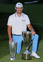 29th August 2021; Owens Mills, Maryland, USA;  Patrick Cantlay (USA) kneeling with the winners trophy on the 18th green after the final round of the BMW Championship on August 29, 2021, at Caves Valley Golf Club in Owings Mills, MD.