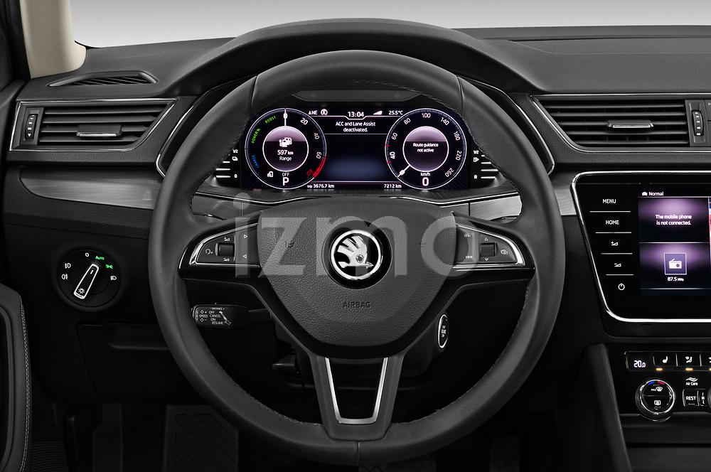 Car pictures of steering wheel view of a 2020 Skoda Superb-Combi-iV Style 5 Door Wagon Steering Wheel