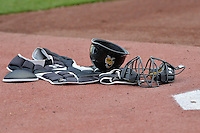 Salt Lake Bees catcher's gear sits in the bullpen prior to the game against the Reno Aces at Smith's Ballpark on May 4, 2014 in Salt Lake City, Utah.  (Stephen Smith/Four Seam Images)