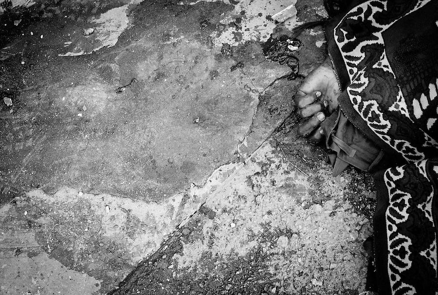 Dead Gaddafi soldier in the Bab Al Aziziya compound in Tripoli, Libya