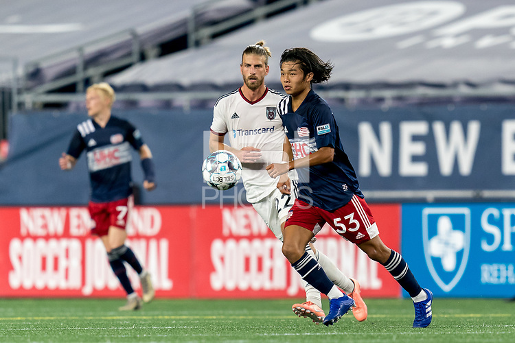 FOXBOROUGH, MA - SEPTEMBER 09: Hikaru Fujiwara #53 of New England Revolution II dribbles at midfield during a game between Chattanooga Red Wolves SC and New England Revolution II at Gillette Stadium on September 09, 2020 in Foxborough, Massachusetts.