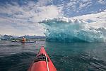 Alaska, Prince William Sound, Sea kayaker, Ice, Columbia Bay, Columbia Glacier, USA