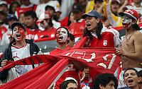 """BOGOTA-COLOMBIA-ENERO 27: Hinchas de Santa Fe animan a su equipo durante juego por la SuperLiga de Campeones, en el estadio Nemesio Camacho """"El Campin"""" en la ciudad de Bogotá, enero 27 de 2013, (Foto/VizzorImage / Felipe Caicedo / Staff). Supportes of Santa Fe cheer their team during a match For the Champions Super League at the Nemesio Camacho """"El Campin"""" stadium in Bogota city, on January 24, 2013 (Photo: VizzorImage  / Felipe Caicedo / Staff)"""
