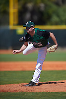 Dartmouth Big Green starting pitcher Beau Sulser (10) follows through on a pitch during a game against the Eastern Michigan Eagles on February 25, 2017 at North Charlotte Regional Park in Port Charlotte, Florida.  Dartmouth defeated Eastern Michigan 8-4.  (Mike Janes/Four Seam Images)