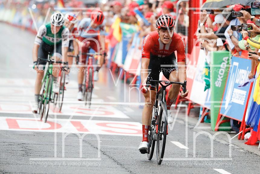 ESPAÑA, 31-08-2019: ARNDT Nikias (GER - SUNWEB) celebra después de ganar la etapa 8, hoy, 31 de agosto de 2019, que se corrió entre Valls e Igualada con una distancia de 166,9 km como parte de La Vuelta a España 2019 que se disputa entre el 24/08 y el 15/09/2019 en territorio español. / ARNDT Nikias (GER - SUNWEB)celebrates after winning stage 8 today, August 31, 2019, from Valls to Igualada with a distance of 166,9 km as part of Tour of Spain 2019 which takes place between 08/24 and 09/15/2019 in Spain.  Photo: VizzorImage / Luis Angel Gomez / ASO<br /> VizzorImage PROVIDES THE ACCESS TO THIS PHOTOGRAPH ONLY AS A PRESS AND EDITORIAL SERVICE AND NOT IS THE OWNER OF COPYRIGHT; ANOTHER USE HAVE ADDITIONAL PERMITS AND IS  REPONSABILITY OF THE END USER