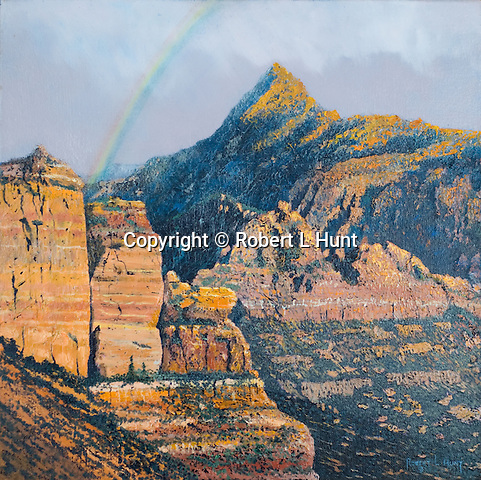 """Rainbow across the Kolob Canyons, part of Zion National Park, Utah. Oil on canvas, 15"""" x 15""""."""