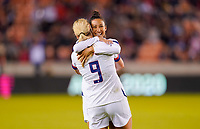 HOUSTON, TX - JANUARY 31: Christen Press #20 of the United States celebrates a goal with teammate Lindsey Horan #9 during a game between Panama and USWNT at BBVA Stadium on January 31, 2020 in Houston, Texas.