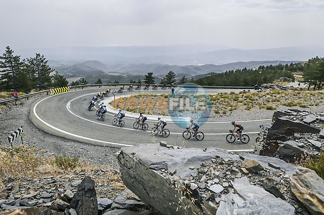 The peloton descend Alto Collado Venta Luisa during Stage 9 of La Vuelta d'Espana 2021, running 188km from Puerto Lumbreras to Alto de Velefique, Spain. 22nd August 2021.    <br /> Picture: Unipublic/Charly Lopez | Cyclefile<br /> <br /> All photos usage must carry mandatory copyright credit (© Cyclefile | Charly Lopez/Unipuplic)