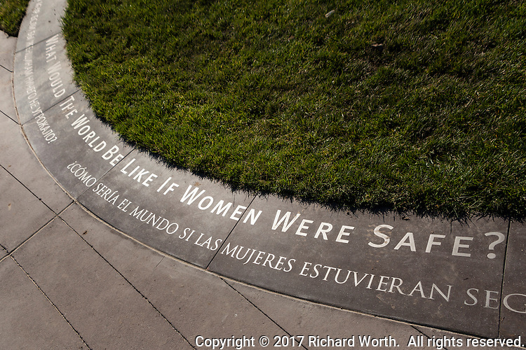 """The inscription at the base of the """"Truth is Beauty"""" statue reads, """"What Would The World Be Like If Women Were Safe?"""""""