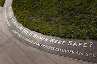 "The inscription at the base of the ""Truth is Beauty"" statue reads, ""What Would The World Be Like If Women Were Safe?"""