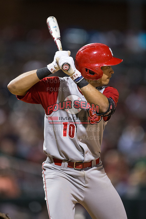 Joe Dunand (10) of the North Carolina State Wolfpack at bat against the Charlotte 49ers at BB&T Ballpark on March 31, 2015 in Charlotte, North Carolina.  The Wolfpack defeated the 49ers 10-6.  (Brian Westerholt/Four Seam Images)