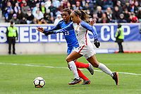 Harrison, NJ - Sunday March 04, 2018: Grace Geyoro, Mallory Pugh during a 2018 SheBelieves Cup match match between the women's national teams of the United States (USA) and France (FRA) at Red Bull Arena.