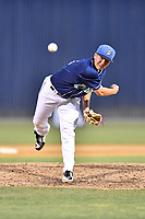 Asheville Tourists pitcher Nate Harris (14) delivers a pitch during a game against the Kannapolis Intimidators at McCormick Field on May 12, 2018 in Asheville, North Carolina. The Intimidators defeated the Tourists 11-8. (Tony Farlow/Four Seam Images)
