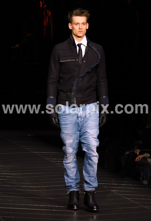 **ALL ROUND PICTURES FROM SOLARPIX.COM**.**SYNDICATION RIGHTS FOR UK, AUSTRALIA, DENMARK, PORTUGAL, S. AFRICA, SPAIN & DUBAI (U.A.E) ONLY**.Benecio Del Toro introduces the G-Star autumn 2009 collection, at the Mercedes-Benz Fashion Week 2009. held at the Hammerstein Ballroom, New York City, NY, USA. 17 February 2009..This pic: model..JOB REF: 8501 PHZ (Ward)   DATE: 17_02_2009.**MUST CREDIT SOLARPIX.COM OR DOUBLE FEE WILL BE CHARGED**.**ONLINE USAGE FEE  GBP 50.00 PER PICTURE - NOTIFICATION OF USAGE TO PHOTO @ SOLARPIX.COM**