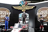 #1: Josef Newgarden, Team Penske Chevrolet, podium, #27: Alexander Rossi, Andretti Autosport Honda, #21: Rinus VeeKay, Ed Carpenter Racing Chevrolet