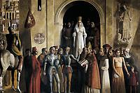 MUÃ'OZ DE PABLOS, Carlos. Coronation of Isabella the Catholic. 20th c. SPAIN. Segovia. Alcazar (castle). Spain (1474). Kingdom