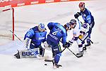 Morgan Ellis (Nr.4 - ERC Ingolstadt), Mathew Bodie (Nr.22 - ERC Ingolstadt) und Mark Olver (Nr.91 - Eisbären Berlin) vor Torwart Michael Garteig (Nr.34 - ERC Ingolstadt) beim Spiel im Halbfinale der DEL, ERC Ingolstadt (dunkel) - Eisbaeren Berlin (hell).<br /> <br /> Foto © PIX-Sportfotos *** Foto ist honorarpflichtig! *** Auf Anfrage in hoeherer Qualitaet/Aufloesung. Belegexemplar erbeten. Veroeffentlichung ausschliesslich fuer journalistisch-publizistische Zwecke. For editorial use only.