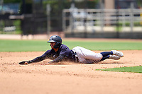 New York Yankees Luis Santos (31) slides head first into second base during an Extended Spring Training game against the Philadelphia Phillies on June 22, 2021 at the Carpenter Complex in Clearwater, Florida. (Mike Janes/Four Seam Images)