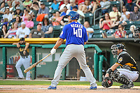 Anthony Recker (40) of the Las Vegas 51s at bat against the Salt Lake Bees in Pacific Coast League action at Smith's Ballpark on June 25, 2015 in Salt Lake City, Utah.  Las Vegas defeated Salt Lake 20-8. (Stephen Smith/Four Seam Images)