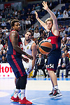 Real Madrid´s player Felipe Reyes between Bayern Munich´s players Thompson and Bryant during the 4th match of the Turkish Airlines Euroleague at Barclaycard Center in Madrid, Spain, November 05, 2015. <br /> (ALTERPHOTOS/BorjaB.Hojas)
