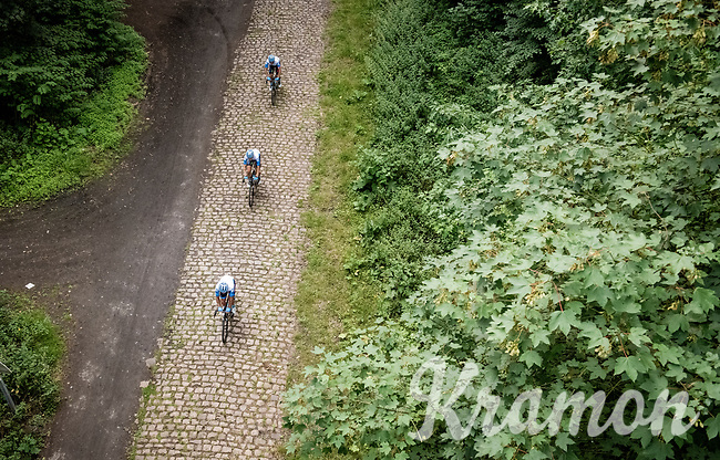 attacking the infamous the infamous Trouée de Wallers - d'Arenberg / arenberg Forest cobbled section<br /> <br /> reconnaissance of the (delayed, due to the Covid19 pandemic) Paris-Roubaix course by Team Israel - StartUp Nation <br /> <br /> Nord-Pas de Calais region (FRA), 17 july 2020<br /> ©kramon