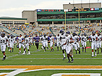 Stephen F. Austin Lumberjacks wide receiver Cordell Roberson (80), Stephen F. Austin Lumberjacks offensive linesman George Bias (75) in action during the game between the Stephen F. Austin Lumberjacks and the Baylor Bears at the Floyd Casey Stadium in Waco, Texas. Baylor defeats SFA 48 to 0.