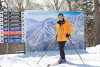 Henri Giscard d'Estaing, Chairman of the Board and Chief Executive Officer of Club Mediterranee, skis in the Yabuli Resort, the Club Med's first holiday resort in China. The resort is jointly managed by Melco China Resorts (Holding) Limited & Club Med Asie S.A. (?ÄúClub Med?Äù).