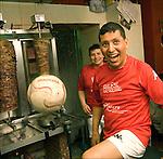 Mohamed Gamel e Nasr Galal, kebabbari egiziani, ritratti nel loro negozio Horas Kebab. <br /> Egyptian football players in Balon Mundial, tournament for immigrants living in Piedmont.