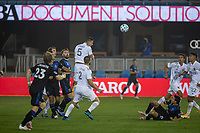 SAN JOSE, CA - SEPTEMBER 13: Daniel Steres #5 of the L.A. Galaxy he's the ball during a game between Los Angeles Galaxy and San Jose Earthquakes at Earthquakes Stadium on September 13, 2020 in San Jose, California.